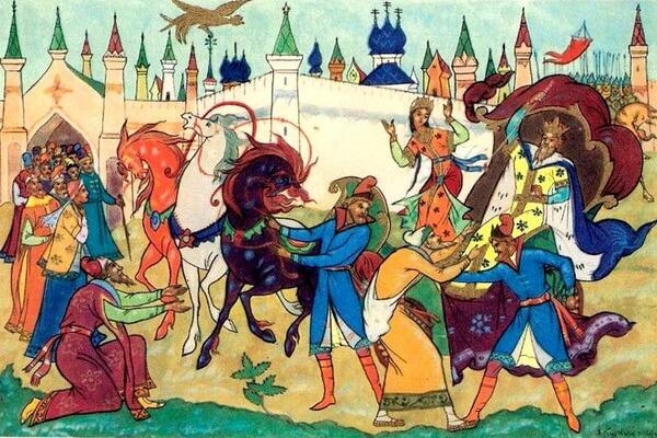 Иллюстрации Александра Михайловича Куркина к сказке Пушкина о золотом петушке