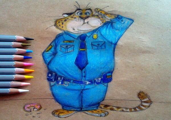 Рисунки карандашом героев Зверополис - Гепард Бенджамин Когтяузер
