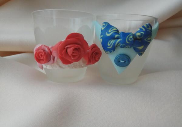 Как сделать декор бокалов из полимерной глины - шаги 13 и 14