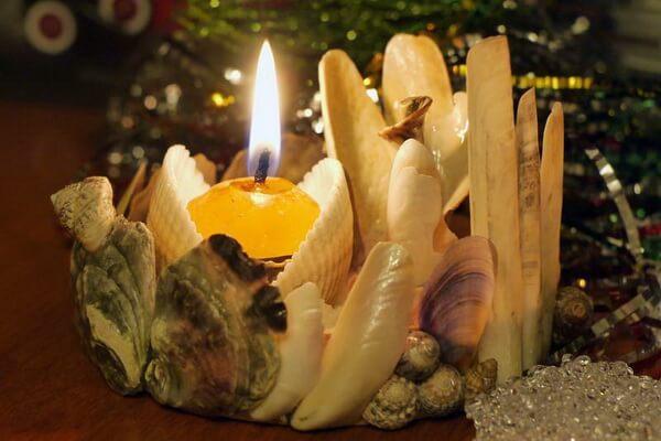 Декор из ракушек - Оригинальный подсвечник для свечи