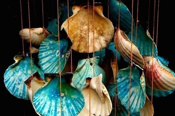 Декор из ракушек в интерьере - Музыка ветра