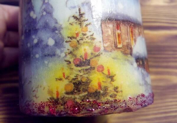 Декупаж свечи на Новый год своими руками поэтапно - шаг 13