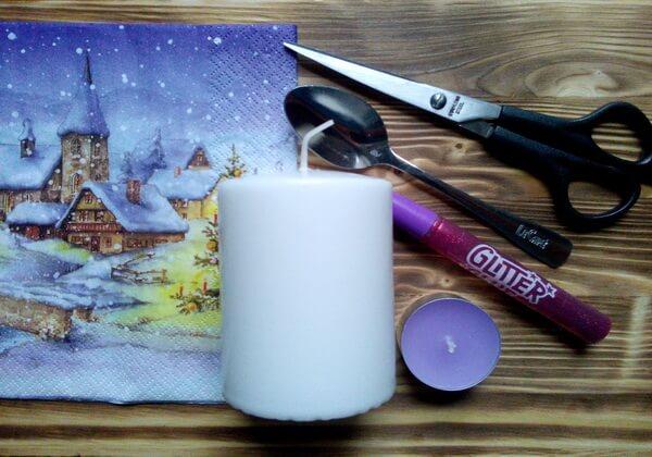 Декупаж свечи на Новый год своими руками - инструменты и материалы