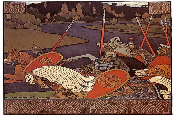 Иллюстрации Ивана Билибина к сказкам и былинам - «Вольга с дружиной» (1903)