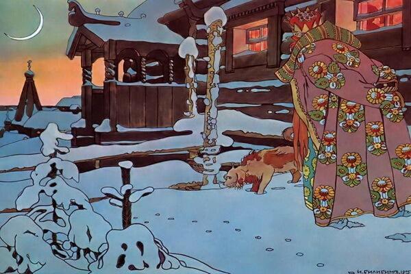Иллюстрации Ивана Билибина к сказкам - «Во все время разговора он стоял позадь забора» (1904)