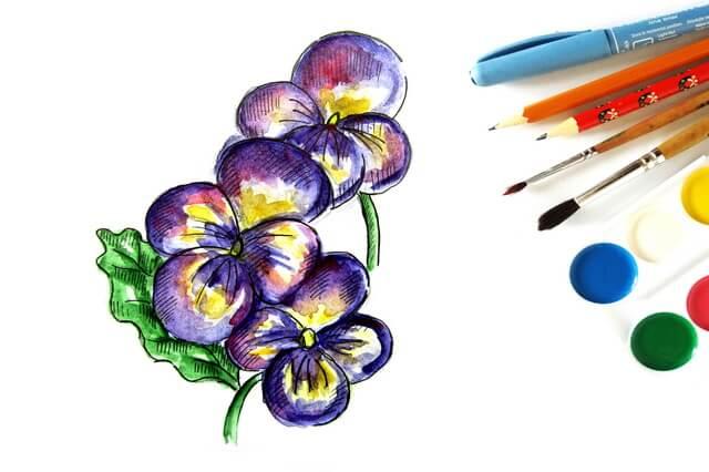 Как нарисовать анютины глазки - поэтапный урок рисования акварелью