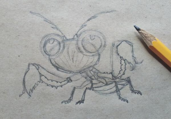 Как нарисовать богомола поэтапно - шаг 6