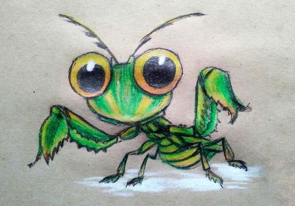Красивый рисунок богомола пошагово - урок рисования карандашами для детей и взрослых