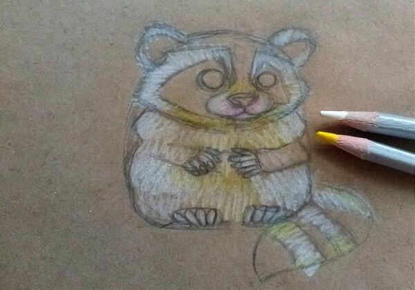 Как нарисовать енота карандашом поэтапно - шаг 6