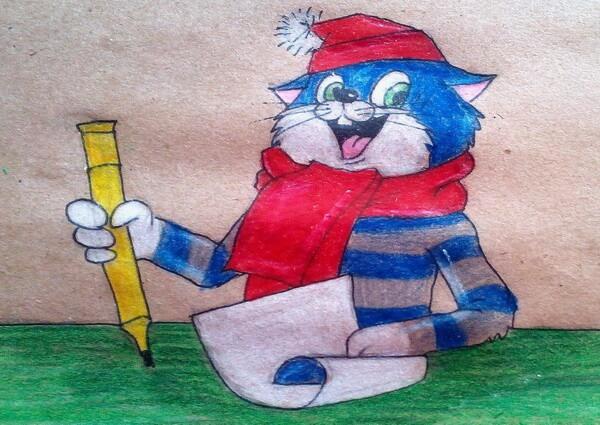 Поэтапный рисунок кота Матроскина из Простоквашино
