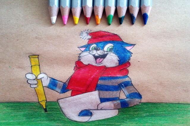 Как нарисовать кота Матроскина поэтапно - урок рисования карандашом
