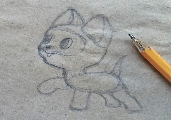 Как нарисовать котёнка Гав - шаг 5