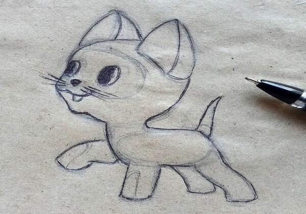 Как нарисовать котёнка Гав - шаг 7
