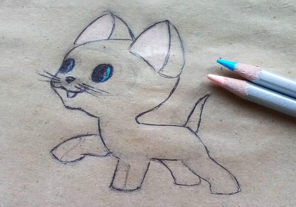 Как нарисовать котёнка Гав - шаг 8