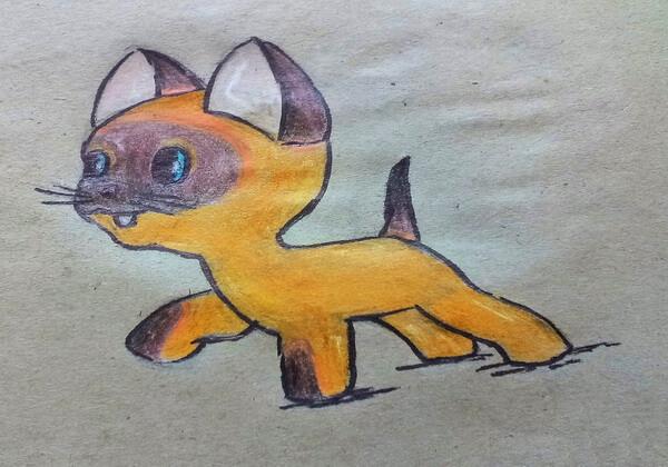 Рисунок персонажа мультфильма - котёнка по имени Гав