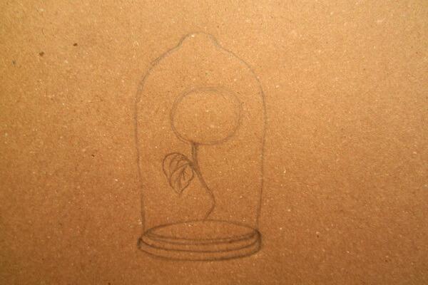 Как нарисовать рисунок к сказке Красавица и чудовище - Рисуем красивую розу в колбе карандашом поэтапно - шаг 2