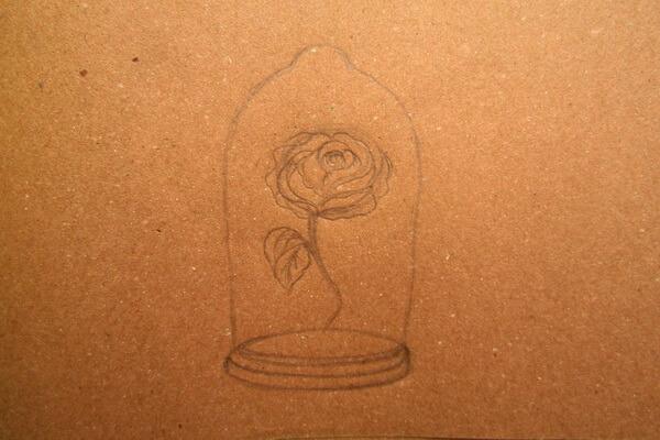 Как нарисовать рисунок к сказке Красавица и чудовище - Рисуем красивую розу в колбе карандашом поэтапно - шаг 3