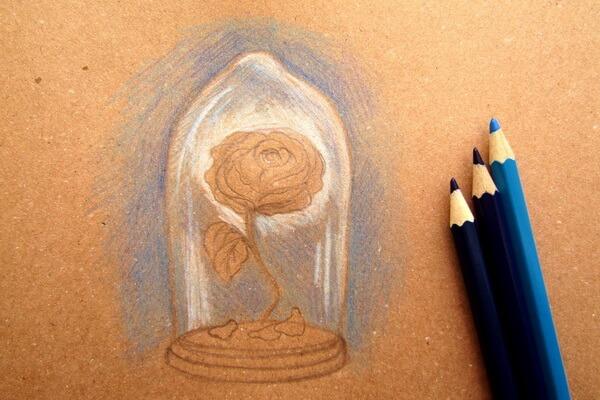 Как нарисовать рисунок к сказке Красавица и чудовище - Рисуем красивую розу в колбе карандашом поэтапно - шаг 4
