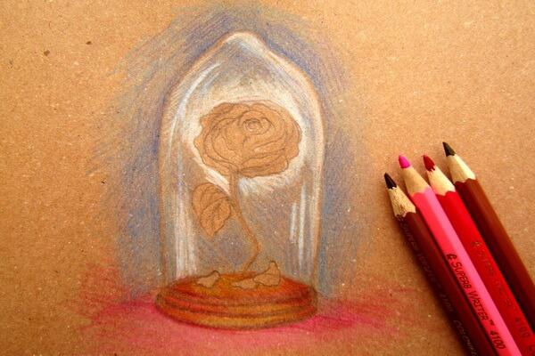 Как нарисовать рисунок к сказке Красавица и чудовище - Рисуем красивую розу в колбе карандашом поэтапно - шаг 5