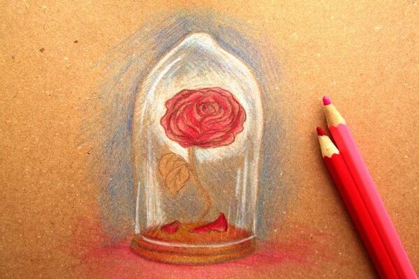 Как нарисовать рисунок к сказке Красавица и чудовище - Рисуем красивую розу в колбе карандашом поэтапно - шаг 6