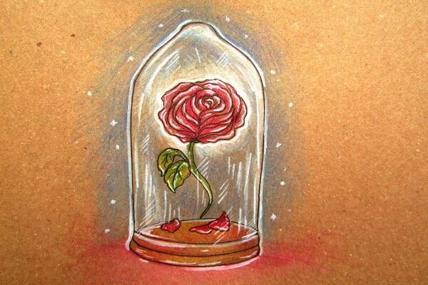 Красивый рисунок к сказке Красавица и чудовище - Пошаговый урок рисования, как нарисовать красивую розу в колбе карандашом поэтапно