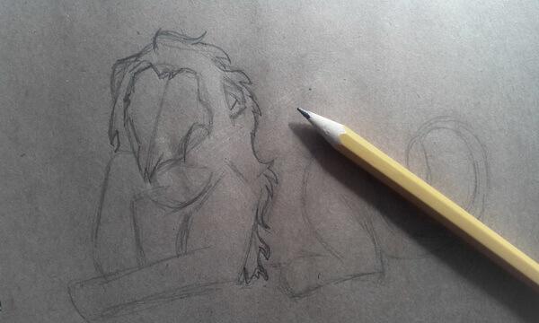 Как нарисовать льва Шрама поэтапно - шаг 3
