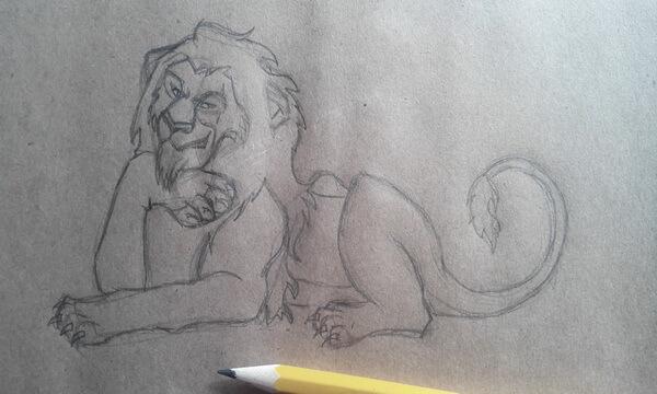 Как нарисовать льва Шрама поэтапно - шаг 6