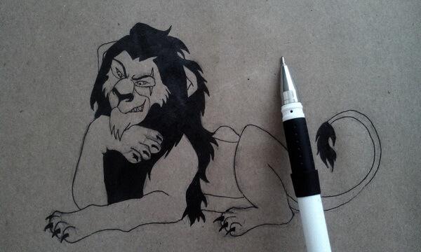 Как нарисовать льва Шрама поэтапно - шаг 7