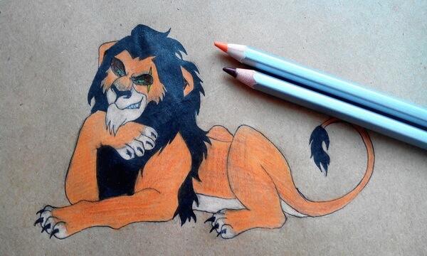 Как нарисовать льва Шрама поэтапно - шаг 10