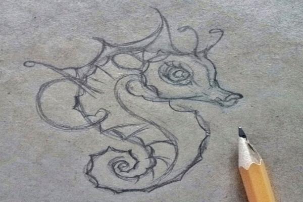 Как нарисовать морского конька поэтапно - шаг 7