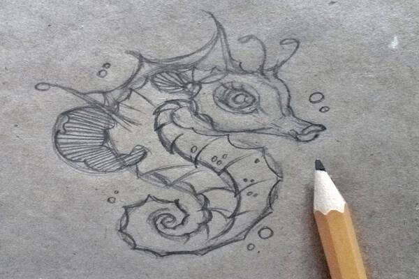 Как нарисовать морского конька поэтапно - шаг 8