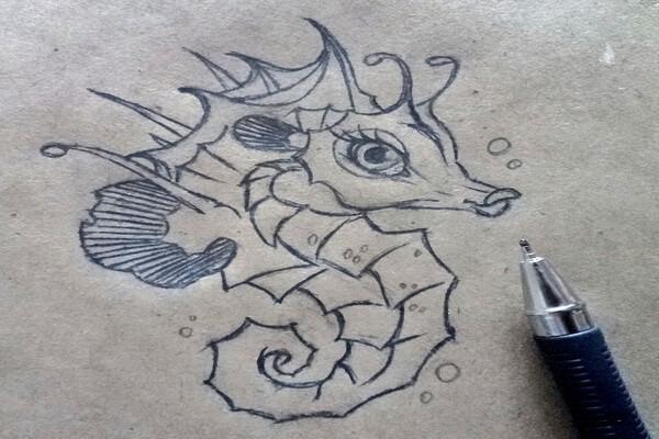 Как нарисовать морского конька поэтапно - шаг 9