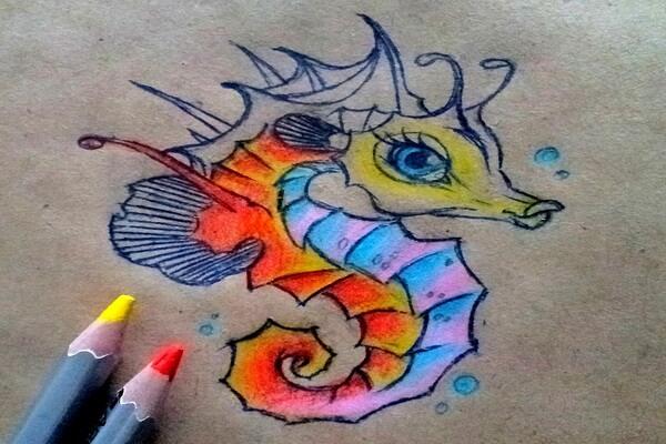 Как нарисовать морского конька поэтапно - шаг 11