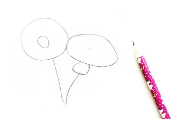 Как нарисовать одуванчик карандашом поэтапно - шаг 1