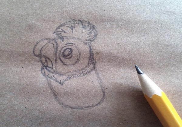 Как нарисовать попугая Кешу поэтапно - шаг 3