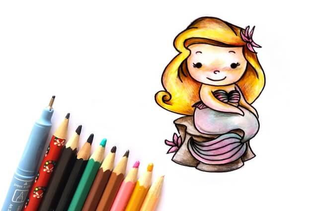 Как нарисовать Русалочку - поэтапный урок рисования карандашами