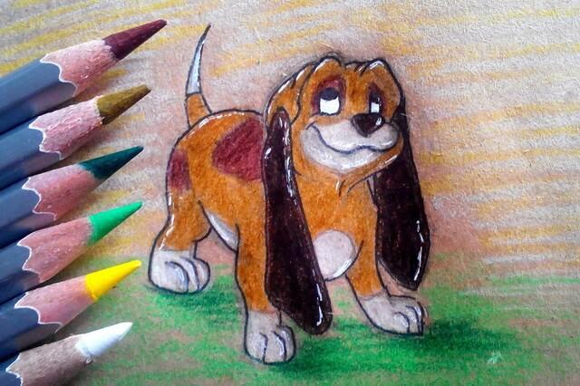 Как нарисовать собаку из мультфильма «Лис и пёс» - поэтапный урок рисования