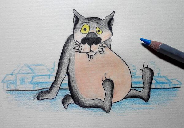 Поэтапный рисунок волка из «Жил-был пёс» - шаг 8