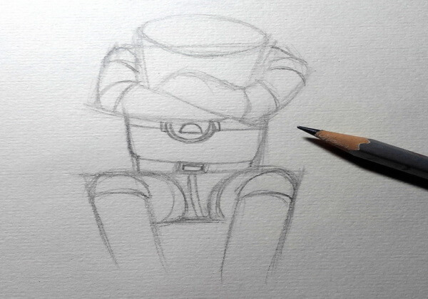 Рисуем капитана Зелёного – героя мультфильма «Тайна третьей планеты» - шаг 3