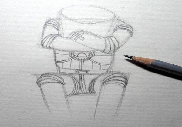 Рисуем капитана Зелёного – героя мультфильма «Тайна третьей планеты» - шаг 4