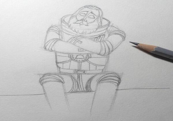 Рисуем капитана Зелёного – героя мультфильма «Тайна третьей планеты» - шаг 5