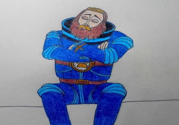 Рисунок героя «Тайна третьей планеты» - капитана Зелёного