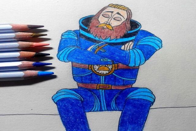 Поэтапный рисунок героя мультфильма «Тайна третьей планеты» - капитана Зелёного