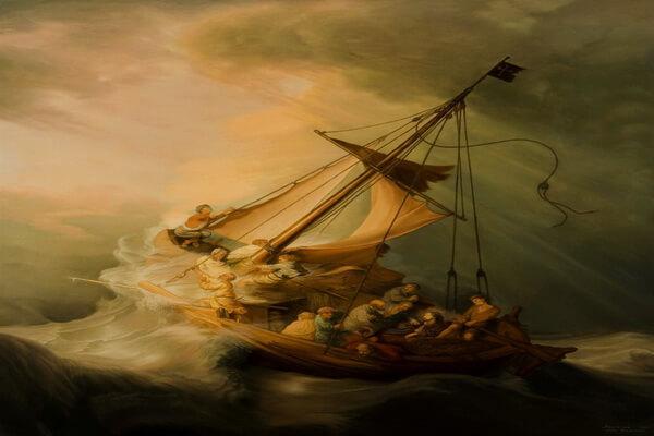 Картины моря известных художников с названиями и описанием - Рембрандт — «Шторм на Галилейском озере»