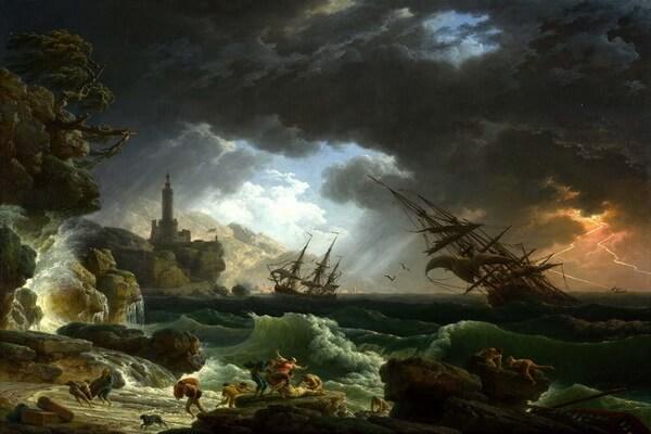 Картины моря известных художников с названиями и описанием - Клод Жозеф Верне — «Кораблекрушение во время шторма»