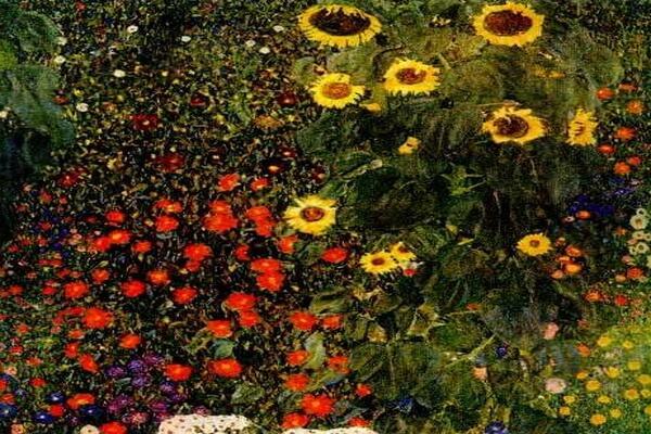 Картины сада известных художников - Густав Климт – «Деревенский сад с подсолнухами» (1906)