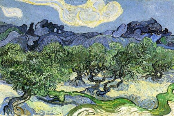 Сады в живописи известных художников - Ван Гог – «Оливковые деревья в горном ландшафте» (1889)