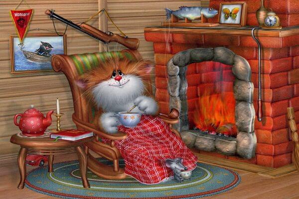 Коты на картинах Алексея Долотова