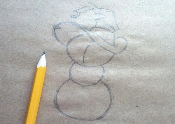 Поэтапный рисунок тыквенного персонажа на Хэллоуин - этап 3