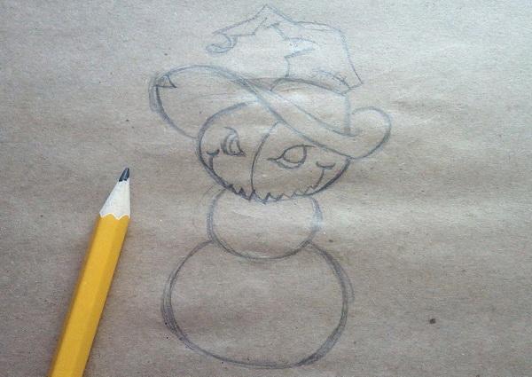 Поэтапный рисунок тыквенного персонажа на Хэллоуин - этап 4